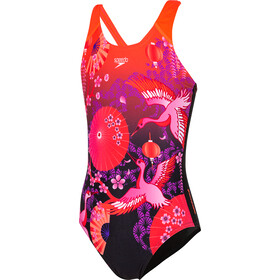 speedo Crane Blossom Placement Digital Badpak Meisjes, black/purple